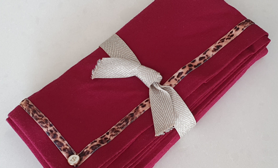 Exclusive Marsala Merino Baby Wrap, Leopard Ribbon Trim