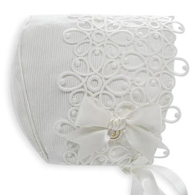 Exclusive Bonnet, Ivory/Black Ottoman with lace trim