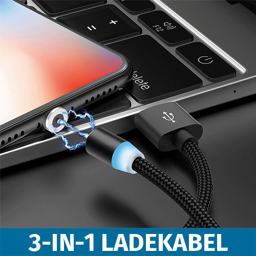 Megline - 3-in-1 Magnet USB Ladekabel