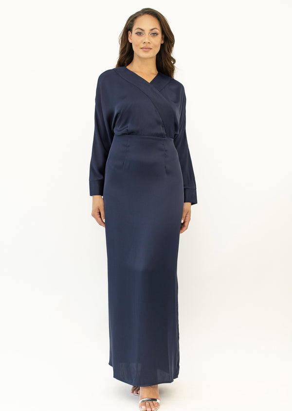 'Banu' satin dress NAVY