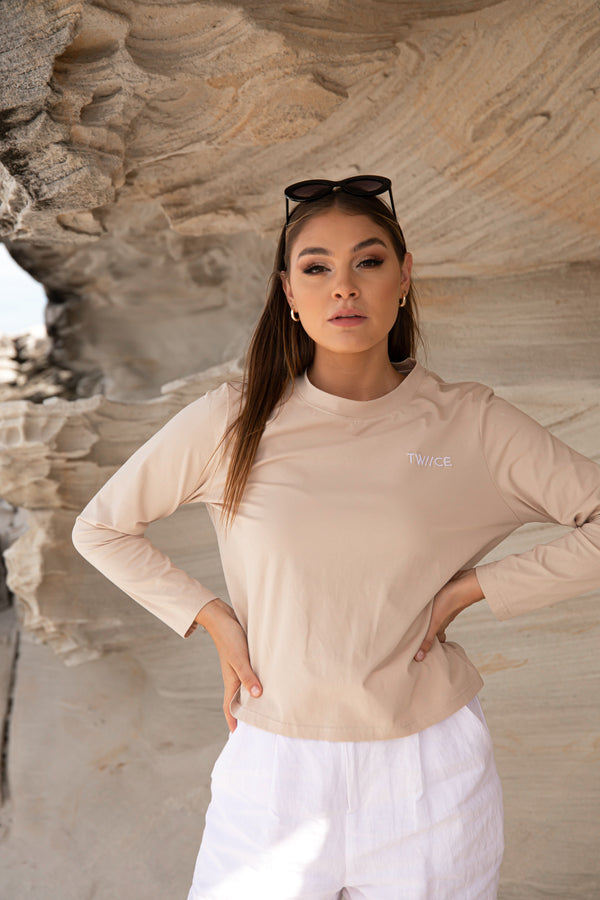 AVAILABLE NOW 'Morning Dew' Cotton Essential Neutral Top