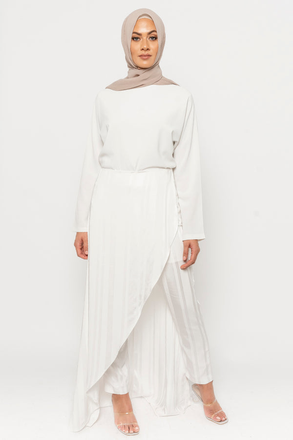 Hana white stripe overlay pants