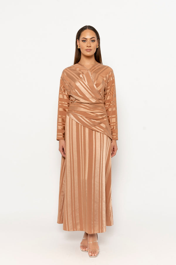 Dana dress bronze stripe