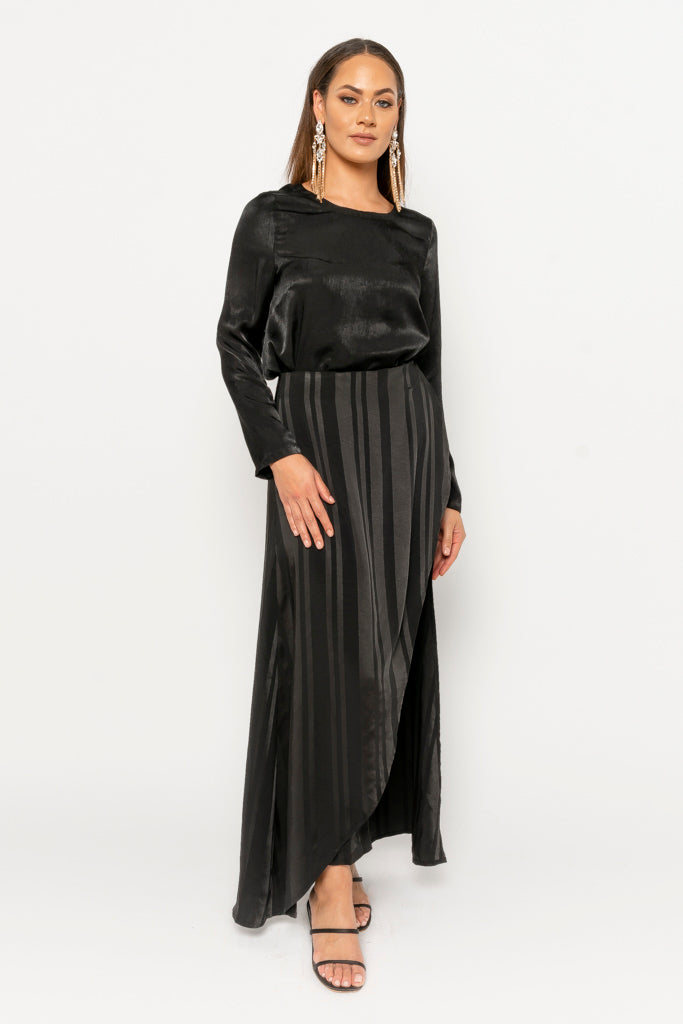 Hana black stripe overlay pants