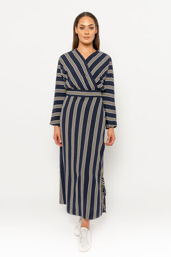 Adina dress navy stripe