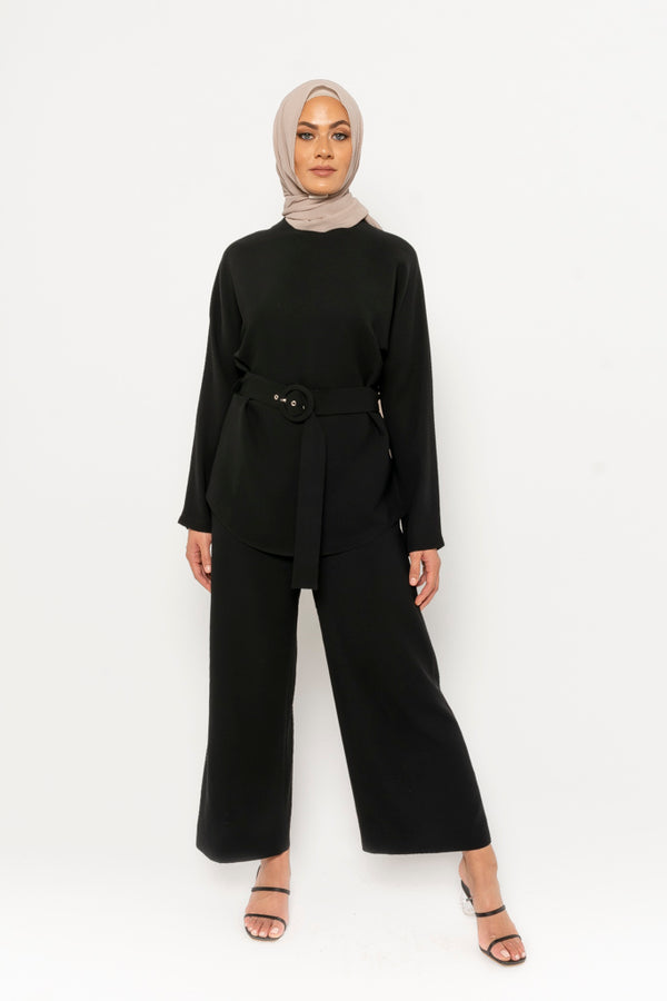 Anna Co-ord top - black