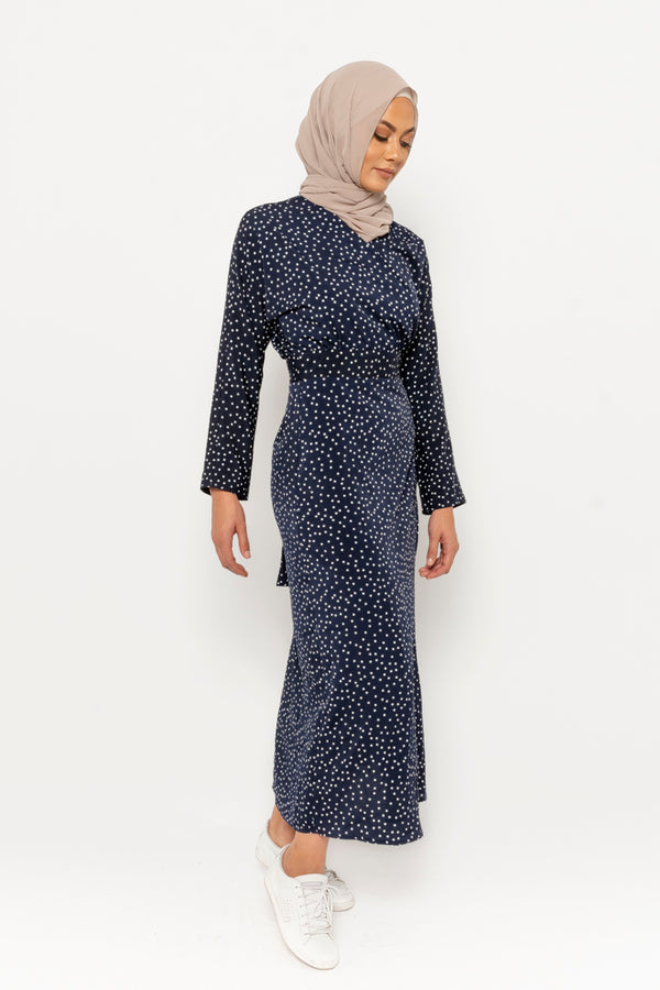 Adina dress navy polka dot