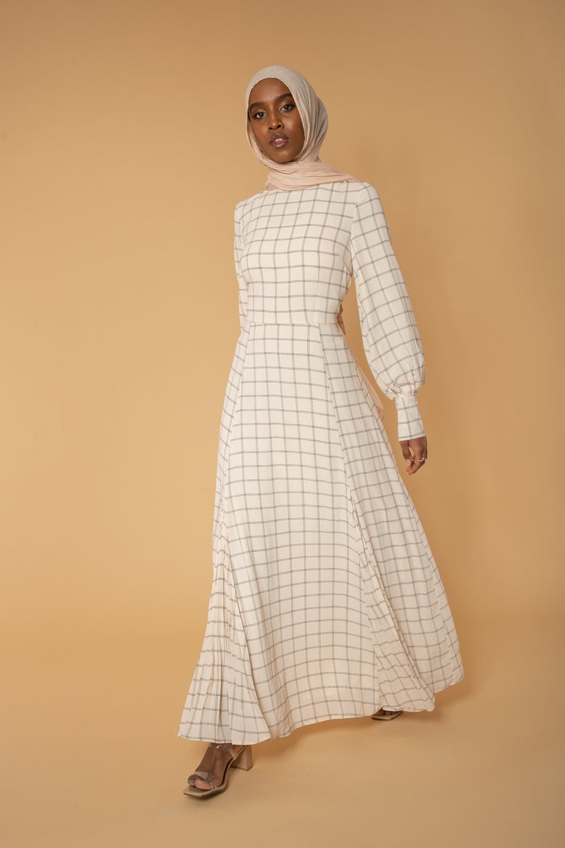 'Sweet Solitude' Light Grid Dress