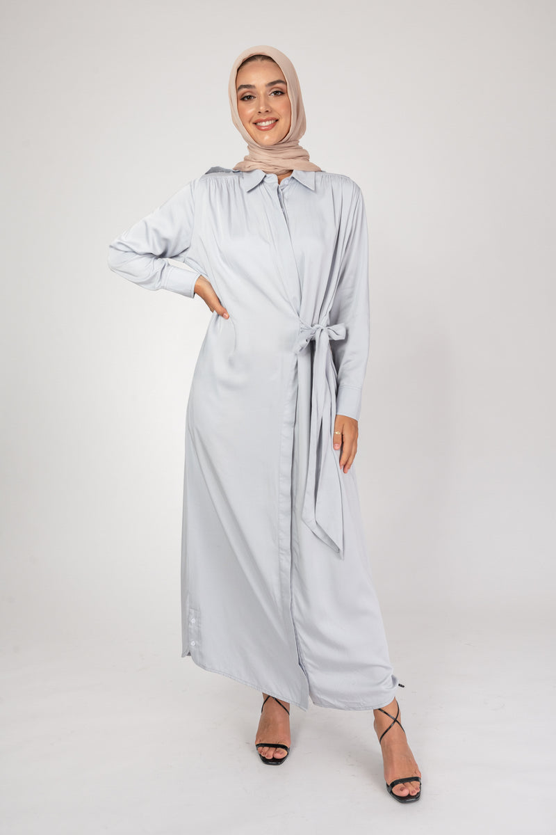 'Freed' Tie Shirt Dress