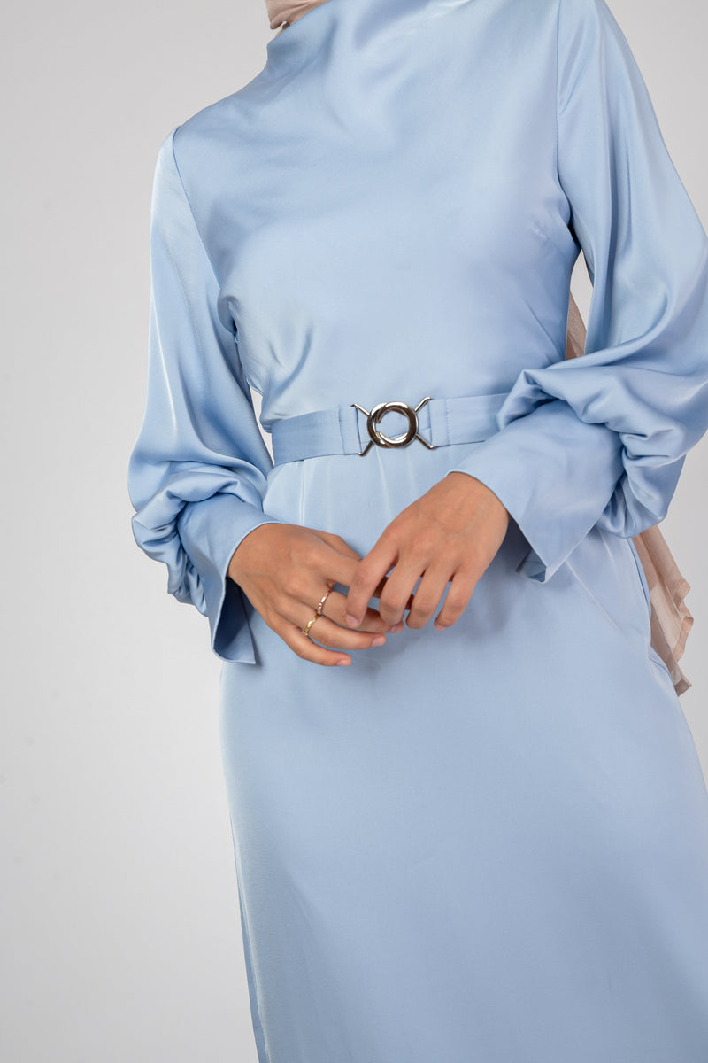 'Sky is the Limit' Satin Dress - Blue