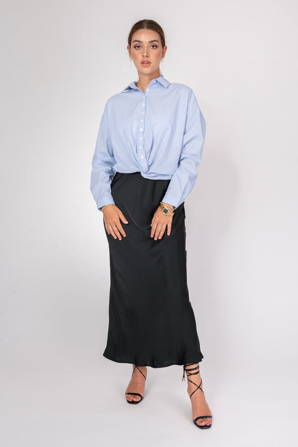 'Maria' Satin Maxi Skirt - Black