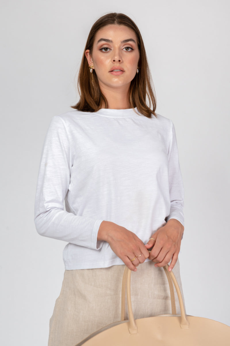 'Morning Dew' White Cotton Crop Top