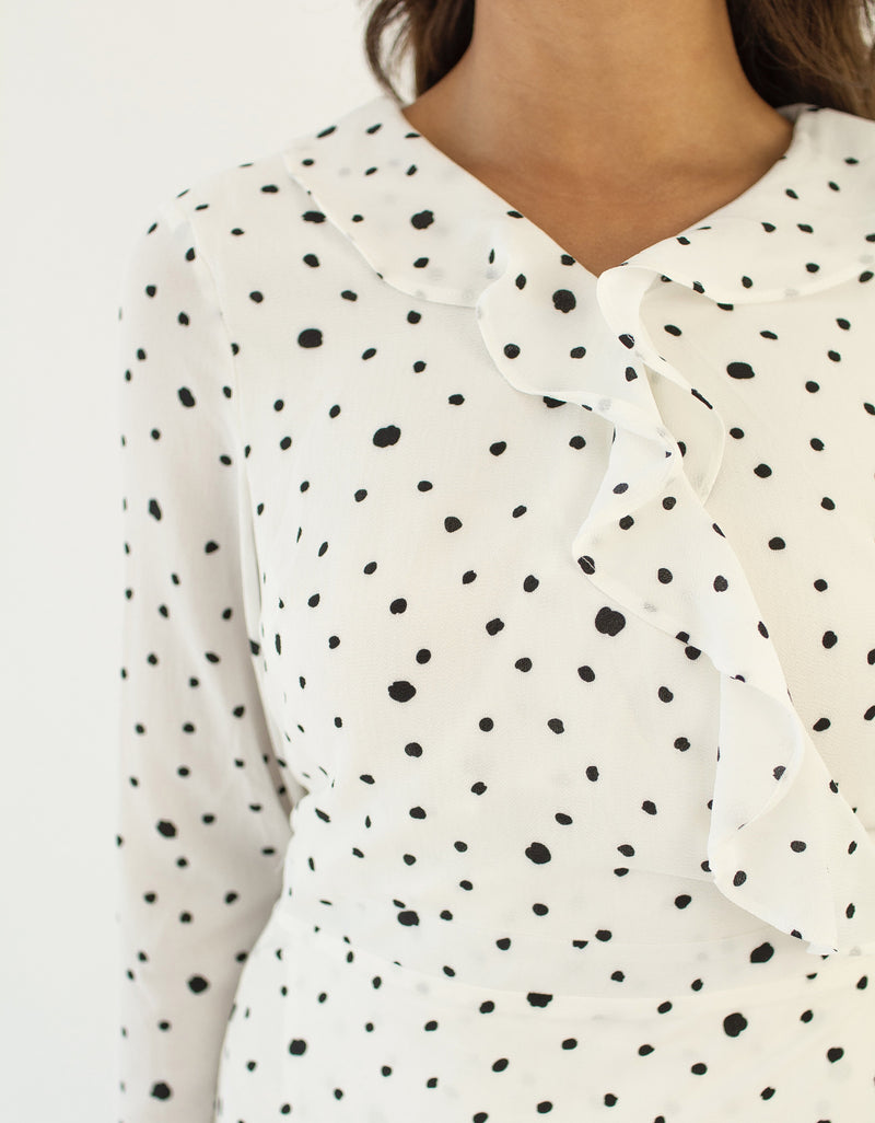 'Madina' wrap dot dress WHITE