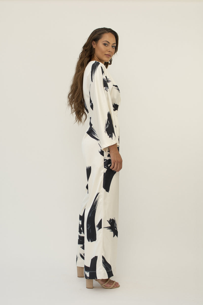 'Maya' satin brush print jumpsuit