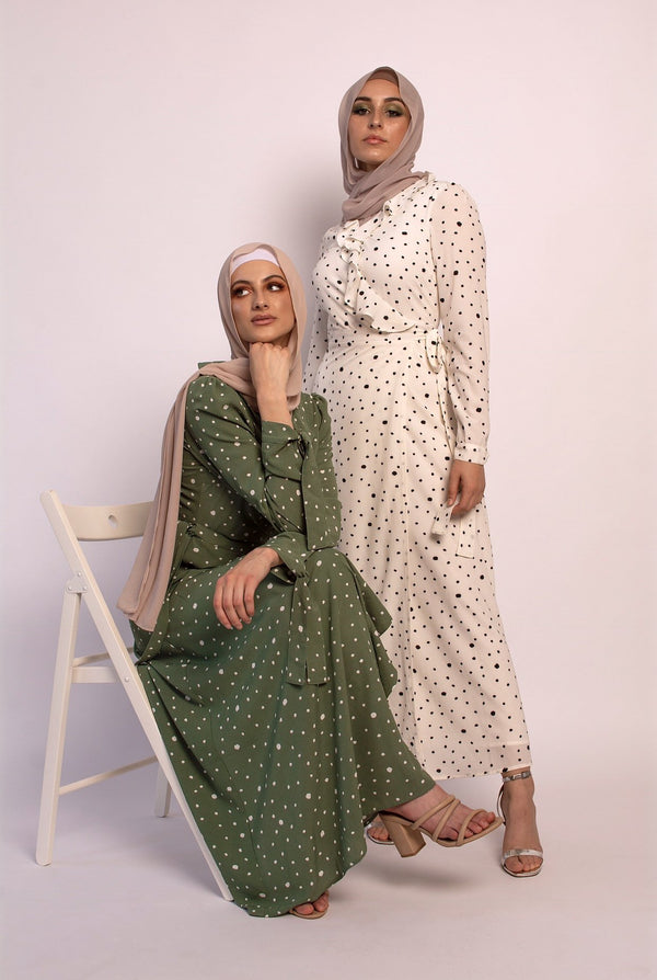 'Madina' wrap dot dress GREEN