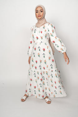 AVAILABLE NOW 'Flora' Cotton Maxi White Floral Printed Dress