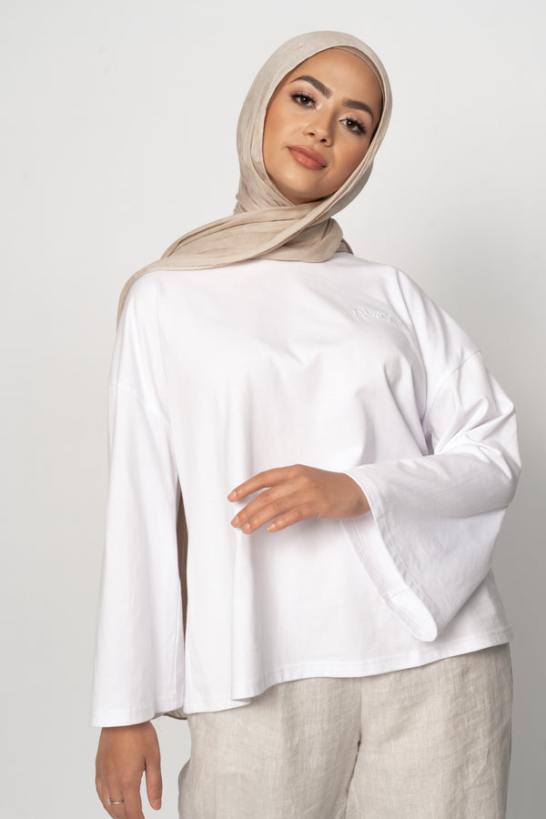 AVAILABLE NOW 'White' Essential Flare Sleeve Top