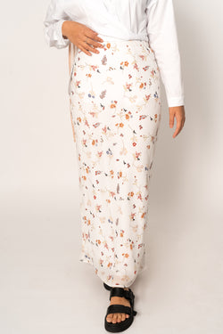 AVAILABLE NOW 'Eve' White Floral Print Chiffon Maxi Skirt