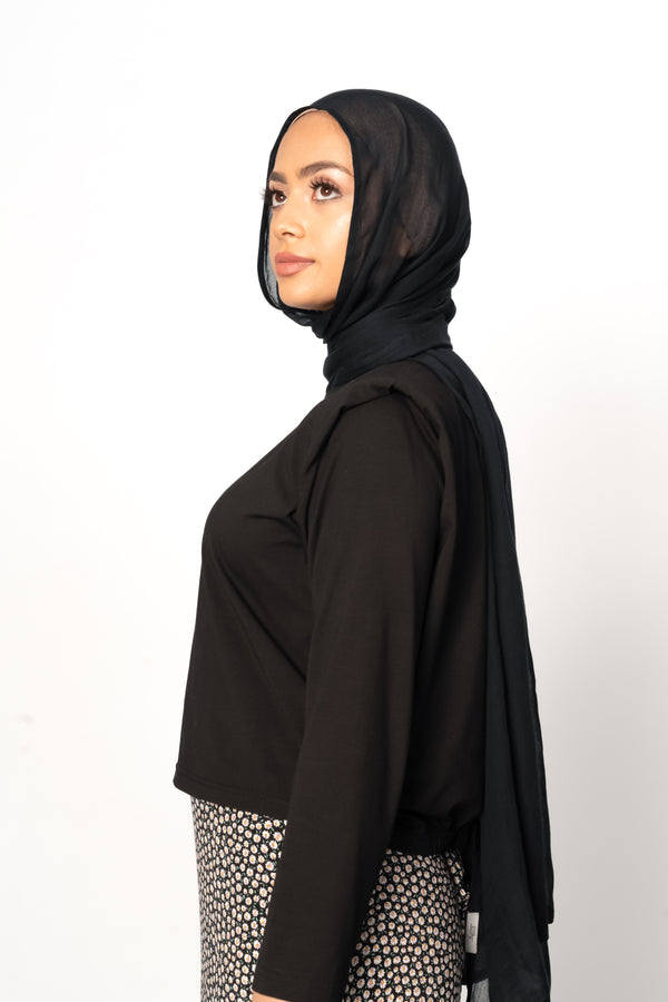 AVAILABLE NOW 'Black' Essential Shoulder Pad Cotton Top
