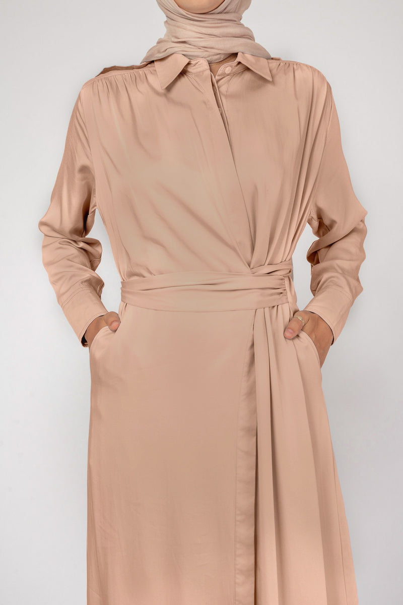 'Freed' Tie Shirt Dress - Tan