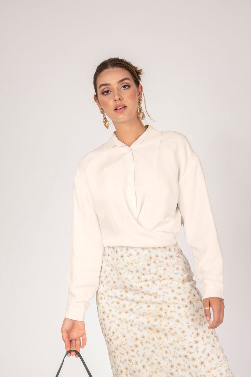 'Crashing Waves' Crop Tie Shirt- Cream