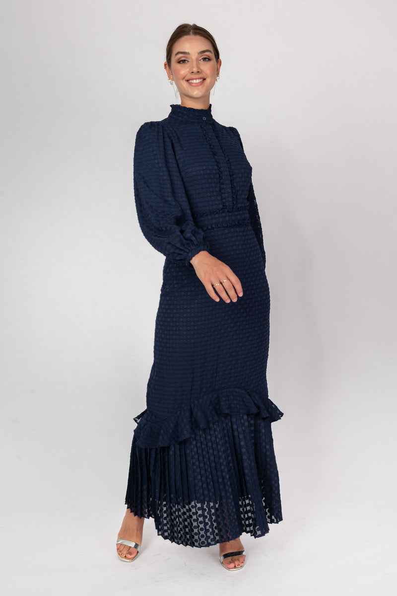 'Everything In Time' Navy Pleat Dress