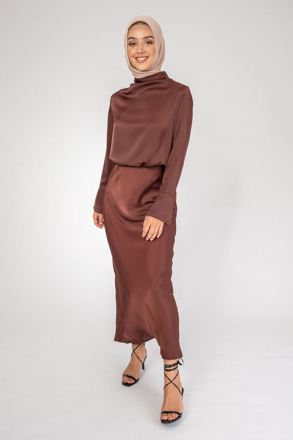 Maria Co-ord brown top