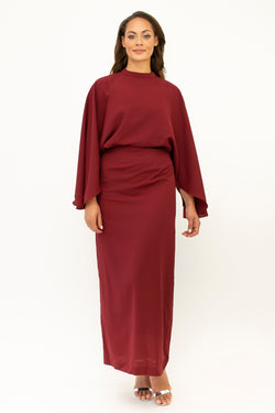 'Hamida' batwing dress MAROON