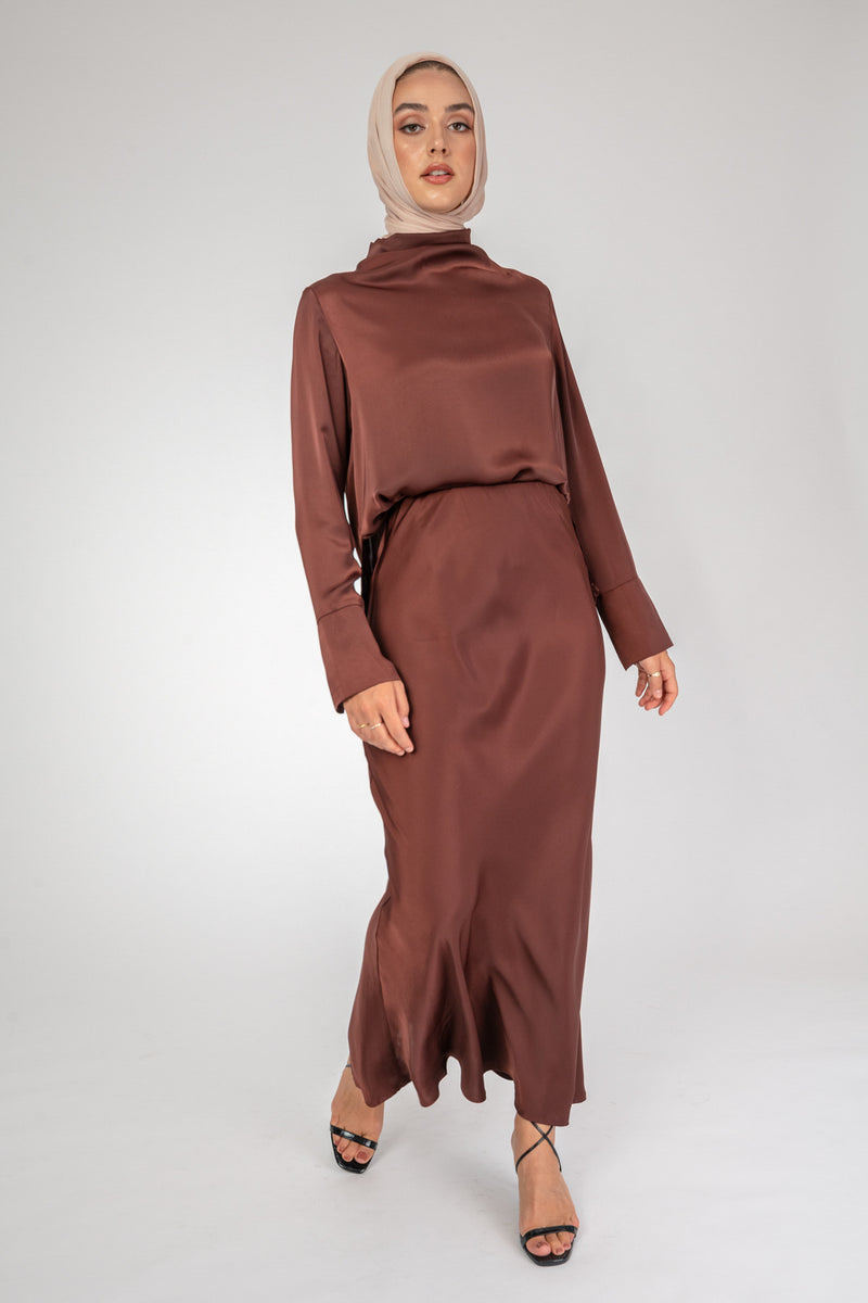 Maria Co-ord Brown Skirt
