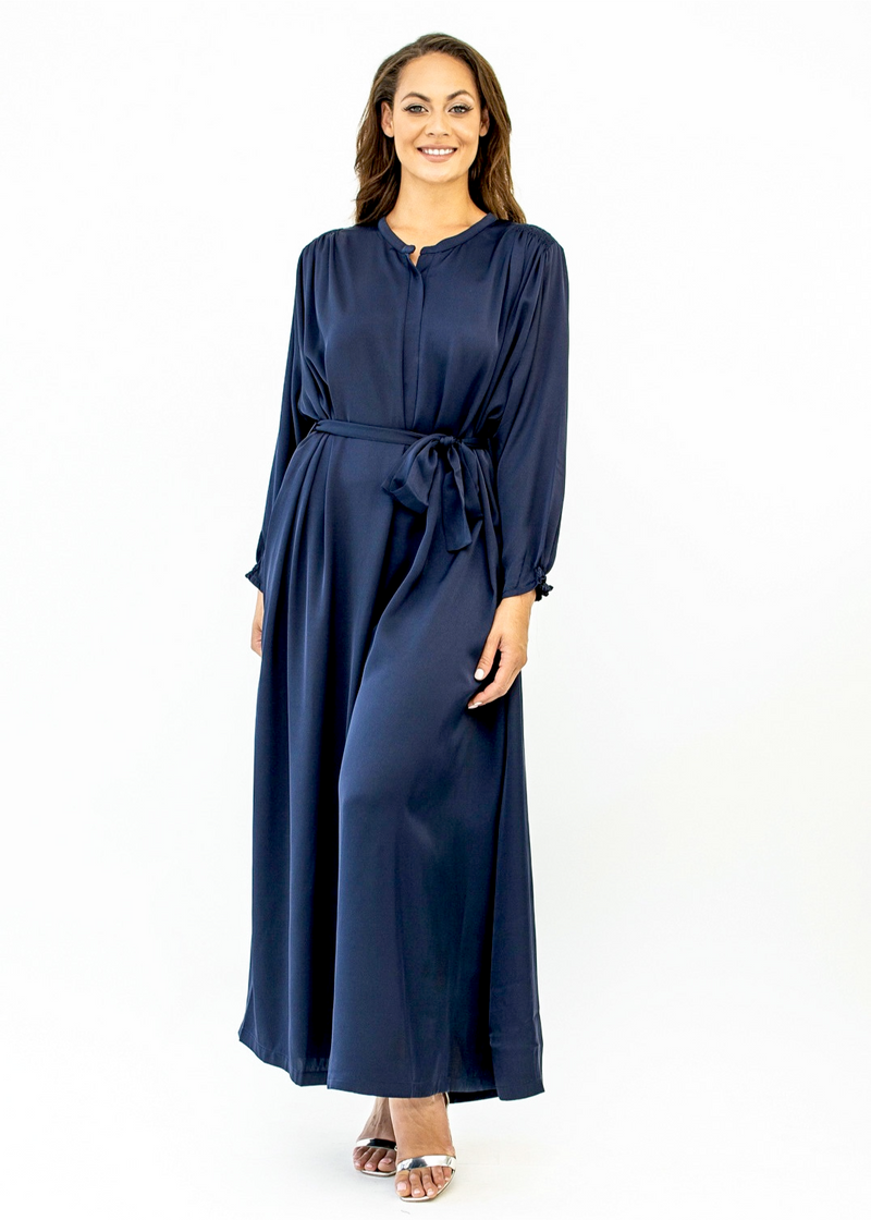 Navy 'Leena' Oversized Satin Jumpsuit