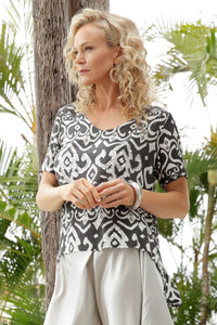 Luccia Charcoal Ikat Camille Top