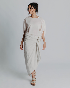 Lisa Brown Natural Linen Kingston Skirt