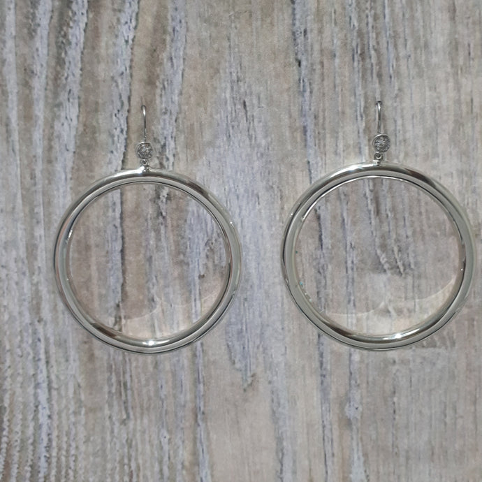 Luccia Sterling Silver with Cubic Zircon Hoop Earrings