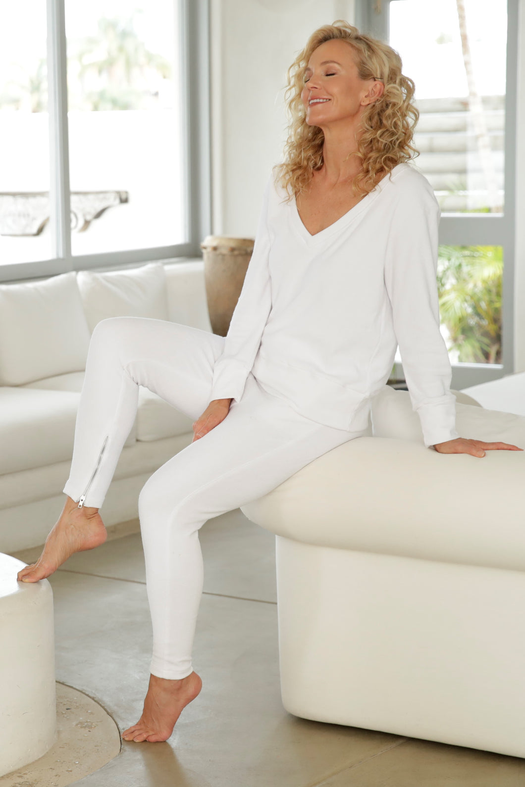 Luccia White French Terry Tracksuit Set 1
