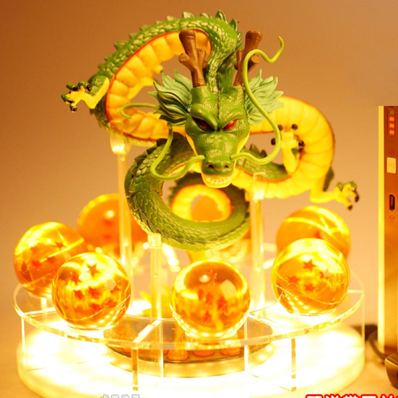 15cm Dragon Ball Z  Shenron or goku with Dragonballs LED base