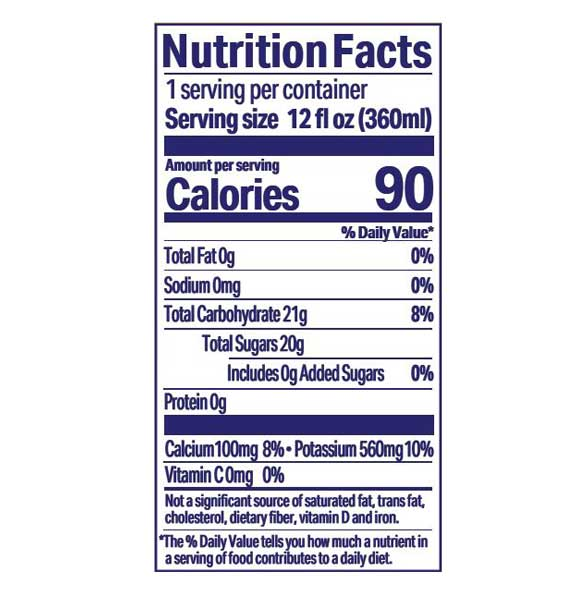 Juice Squeeze Mountain Raspberry Nutritional Information