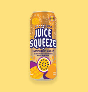 Juice Squeeze Passion Fruit Mango Single Can on Yellow Background