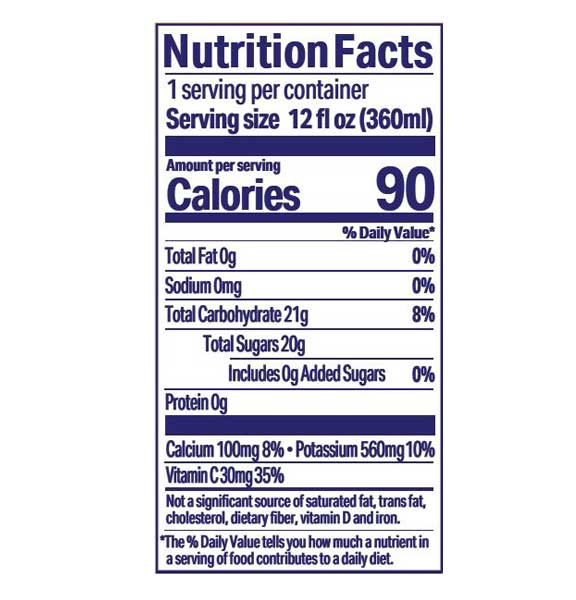 Juice Squeeze Wild Berry Nutritional Information