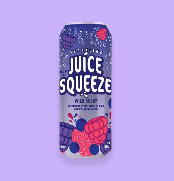 Juice Squeeze Wild Berry Single Can on Lavendar Background