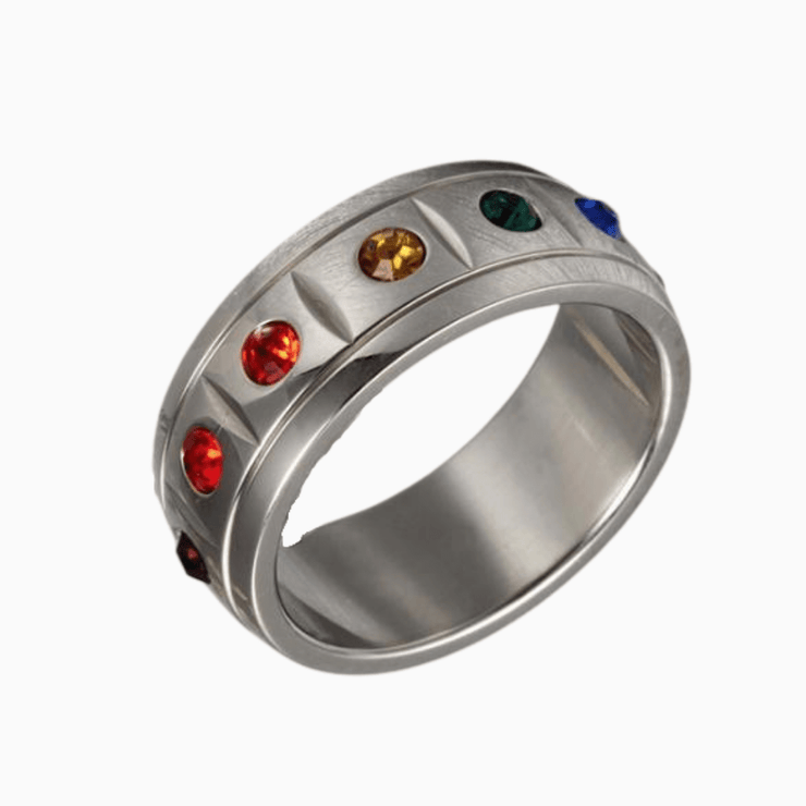 Crystal Rainbow Pride Ring