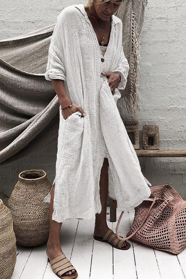Casual Linen Button Down Irregular Maxi Dress