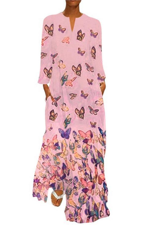 V Neck Butterfly Print Side Pockets Maxi Dress