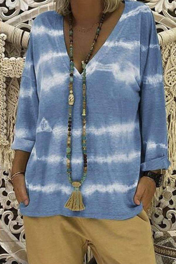 Tie-dyed Print V-neck Long Sleeves T-shirt - Regocy