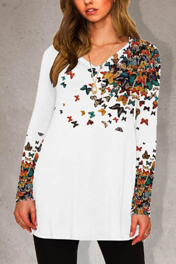 Crew Neck Mixed Color Butterfly Print Casual Long Sleeves T-shirt