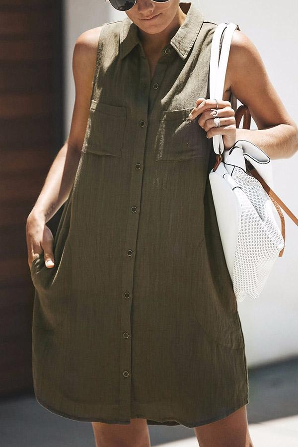 Buttoned Shirt Collar Sleeveless Mini Dress - Regocy