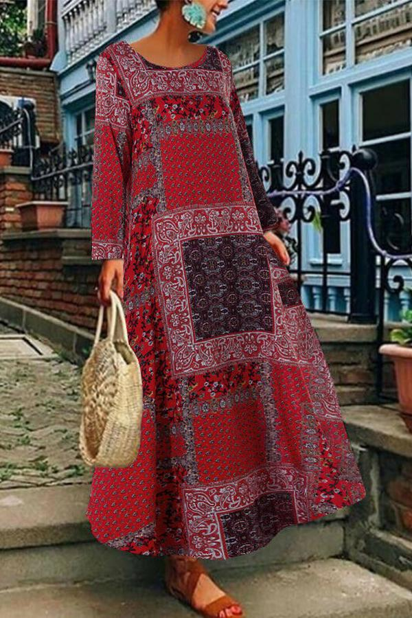 Floral Print Long Sleeves Maxi Linen Dress