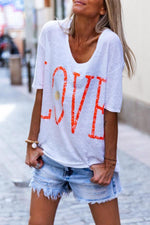 Half Sleeves V-neck Letter Casual T-shirts - Regocy