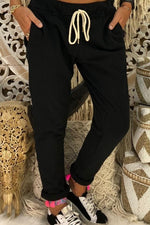 Casual Drawstring Waist Pockets Sports Harem Pants  - Regocy