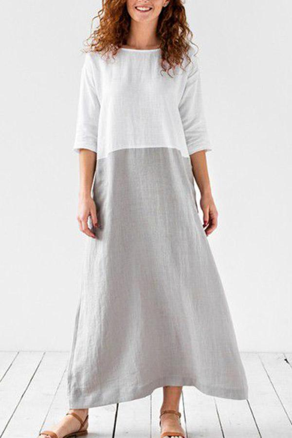 Linen Color-block Solid Maxi Dress - Regocy