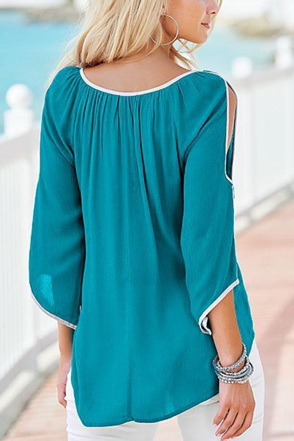 Casual Solid Off The Shoulder Irregular  Blouse